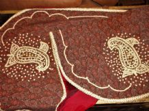 UNUSUAL TABLE PROTECTOR TAFFETA BACK RED PAISLEY FAUX PEARL ENCRUSTED GOLD EDGES